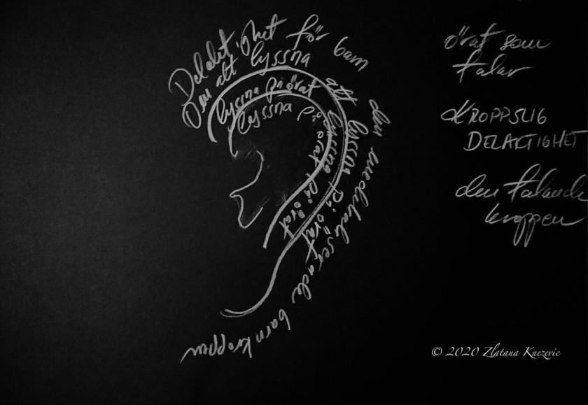 Speaking Bodies blackboard art research-art project and photo by Zlatana Knezevic