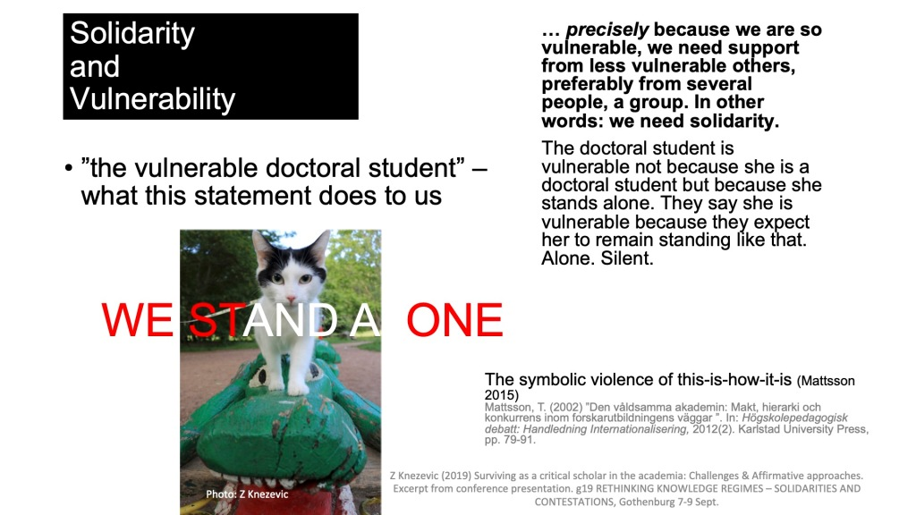 "On solidarity, vulnerability and doctoral students. Excerpt from the conference presentation ""Surviving as a critical scholar"", g19 Z. Knezevic (2019)"