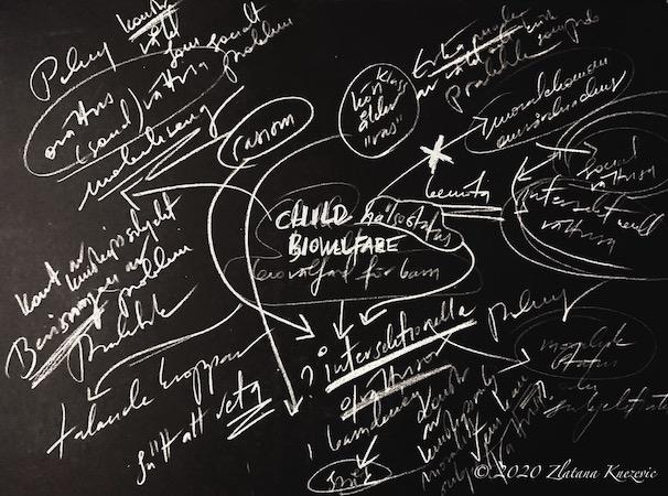 Dissertation sketch blackboard art research-art project and photo by Zlatana Knezevic